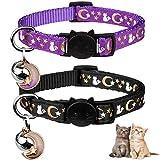 2PCS Breakaway Cat Collars with Bell Moons Stars Cute Kitty Adjustable Safe Kitten Collars with Pendant Glow in The Dark(Black&Purple)