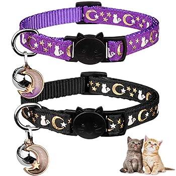 2PCS Breakaway Cat Collars with Bell Moons Stars Cute Kitty Adjustable Safe Kitten Collars with Pendant Glow in The Dark Black&Purple