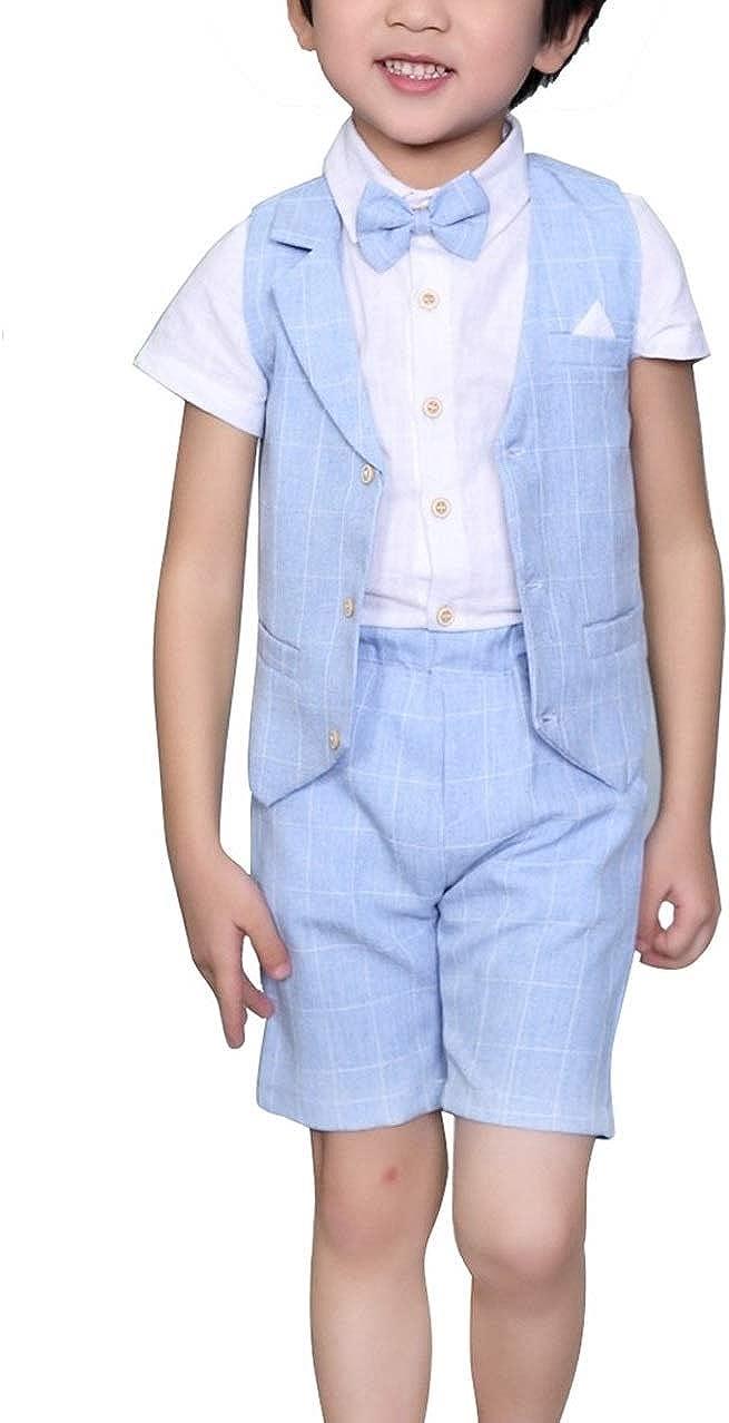 4Pcs Kids Boy's Suits Cotton List price Short Blend SALENEW very popular Linen Sleeve Vest