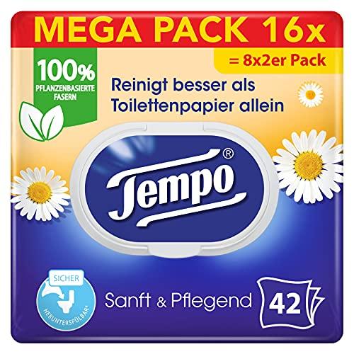 Tempo Sanft und Pflegend feuchtes Toilettenpapier, Mega Pack, (16 x 42 Tücher)