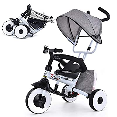 KESAIH 4-in-1 Push Tricycle, Folding Toddler Tricycle with Shock-Absorbing Wheels, Double Brakes, Adjustable Canopy, Sponge Guardrail, Tricycles for 1 2 3 4 5 Years Old, Baby Bike (Grey) from KESAIH