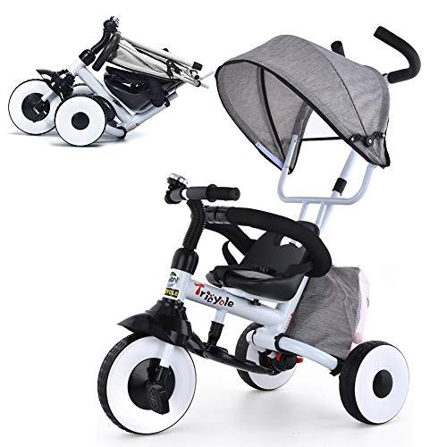 KESAIH 4-in-1 Push Tricycle, Folding Toddler Tricycle with Shock-Absorbing Wheels, Double Brakes, Adjustable Canopy, Sponge Guardrail, Tricycles for 1 2 3 4 5 Years Old, Baby Bike (Grey)