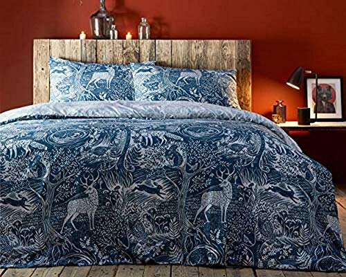 Creative Cloth Winter Woods Duvet Set, Polycotton, Midnight Blue, Double