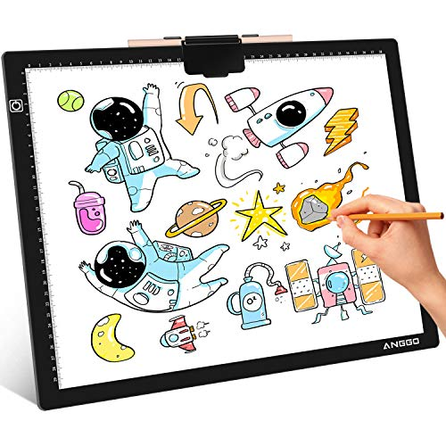 ANGGO Mesa de Luz Dibujo A3, LED Tableta de Luz Dibujo Super Delgado y Brillo Ajustable, Tablero de Dibujo LED Tracking Light Pad con Cable USB para Artistas, Animación, Bocetos, Diseño, X-Ray