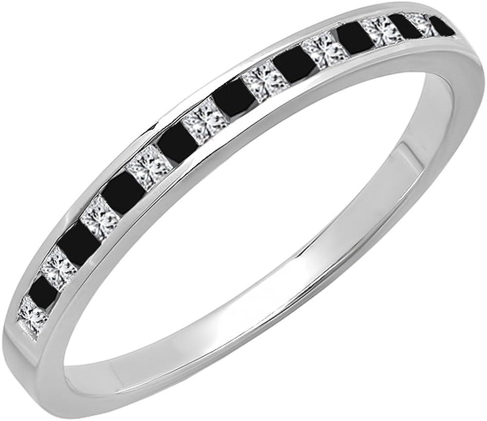 Dazzlingrock Collection 0.25 Carat (ctw) 14K Gold Princess Cut Black & White Diamond Ladies Wedding Stackable Band 1/4 CT