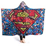 Bedais Wearable Hooded Blanket Superman Soft Cloak Shawl Wrap Hoodie Throw Blanket for Kids and Adult