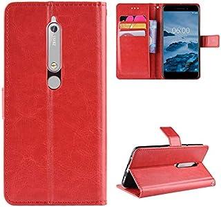 (の Nokia 6.1 Nokia 6 2018) フリップ 財布 シェル カバー 360度 フル ボディー 保護 緩衝器 カバー, プレミアム 耐久保護ケース 材料 - Red