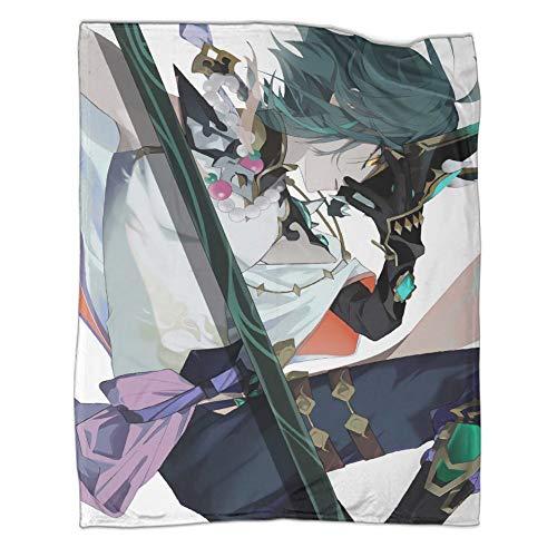 Manta ligera antiestática Genshin Impact Games Roles Xiao vista lateral ligera manta de cama de 150 x 200 cm