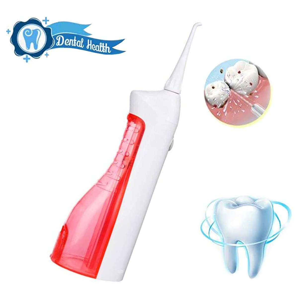 オリエンタルくるくるボス歯のためのウォーターフロッサー、ポータブルプロフェッショナルコードレス歯科口腔灌漑器(150mlタンク、2本のジェットチップ付き)歯磨き粉用クリーナー、2つのクリーニングモード、USB充電式、IPX7