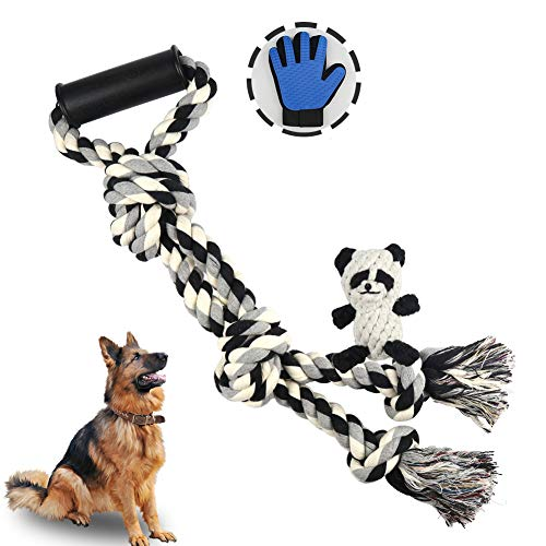 Dog Rope Toy for Aggressive Chewers, Tug of War Dog Toys with Plastic...