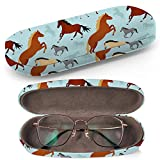 Hard Shell Glasses Protective Case Box + Cleaning Cloth - Fits most Eyeglasses and Sunglasses (Horses On)