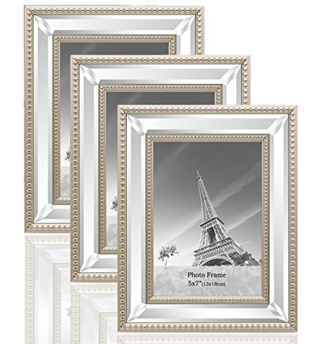 meetart 5x7 3 Pack Mirror Photo Frames Sets for Wall Pictures Decor or Table Stand