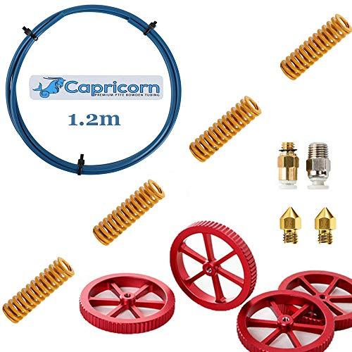 Creality Capricorn Bowden Tubing, Upgrade 1.2M Capricorn PTFE Teflon Tube for 1.75mm Filament, 4pcs Aluminum Hand Twist Leveling Nut, 4pcs Hot Bed Die Springs, Pneumatic Couplers, 0.4mm Nozzles