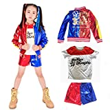 B.I.Fineny Kids Harley Quinn Cosplay Costume Suit Suicide Squad (Height 110-125cm) Red Blue