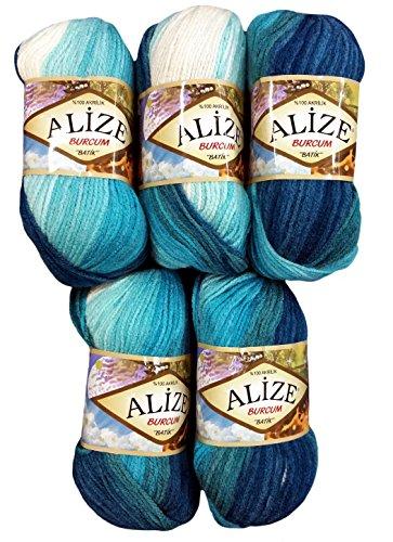 Alize Burcum Batik 5 x 100 Gramm Wolle Mehrfarbig mit Farbverlauf, 500 Gramm Strickwolle (Petrol türkis Mint 1892)