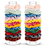Acrylic Scrunchie Holder Stand 2 Pack for Girls, Hair Tie Organizer Stand, Clear Scrunchies Display Holder, Storage Device for Scrunchies, Hair Elastics, Hair Bands, Room Organizer Gift for Teen Girl Gifts, 5 Free Scrunchies