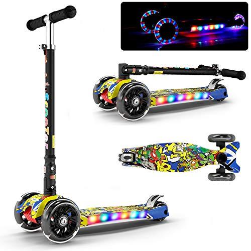 JXILY Pedal Plegable, Scooter De Iluminación LED, Flash De Cuatro Ruedas, con Luz Y Música, Evitación De Colisiones Scooters