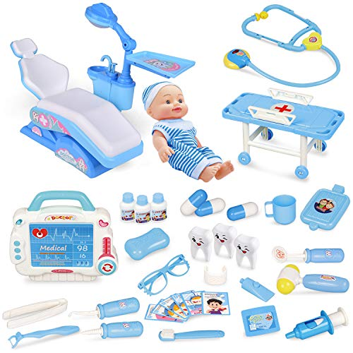 Image of Kids Doctor Kit-33 Pieces, Pretend Play Dentist Medical Kit with Electronic Stethoscope and Dental Unit Chair for Kids Doctor Roleplay