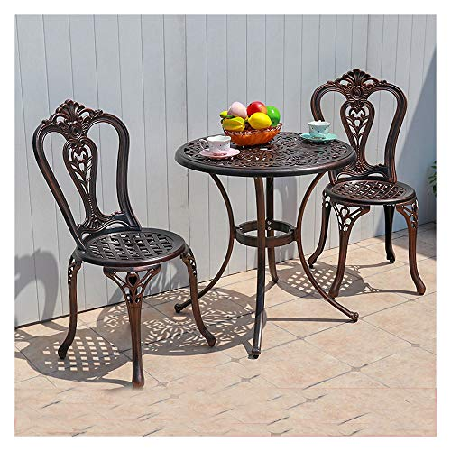 DYYD Garden Table and Chair Set 3 Piece Iron Tables and chairs,Bistro Table Bistro Table Set, Antique Bronze Rose, Outdoor Patio Table and Chairs Furniture, Durable Rust Weather Resistance Garden Furn