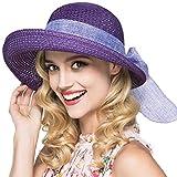 Kqpoinw Sombrero para El Sol, Gorra de Paja para Mujer Sombrero Plegable Sombrero Ancho de ala Ancha Sombrero para El Sol Sombreros de Playa de Verano para Mujeres (Púrpura)