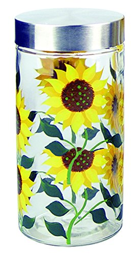 Grant Howard Sunflower Hand Painted Glass Storage Jar, 75 oz, Multicolor