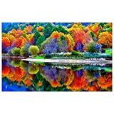 VKTECH Full Drill Colorful Forest 5D DIY Diamond Embroidery Painting Lake Mosaic Cross Stitch Round Rhinestones Beads Kits Home Wall Decor