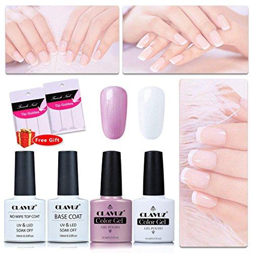 CLAVUZ Gel Nail Polish Pink White with Top and Base Coat Set UV LED DIY Nail Art