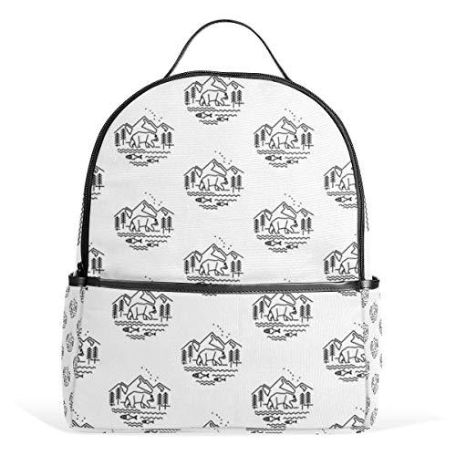 Alaska Bear Fish Mochila para hombres y mujeres mochila de hombro Daypacks de viaje para adolescentes mochilas casual mochila para viajes