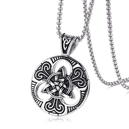 XINTON Herren Halskette Herren Trinitys Knoten Und Anhänger Halskette Für Herren Edelstahl Unisex Vintage Herrenschmuck
