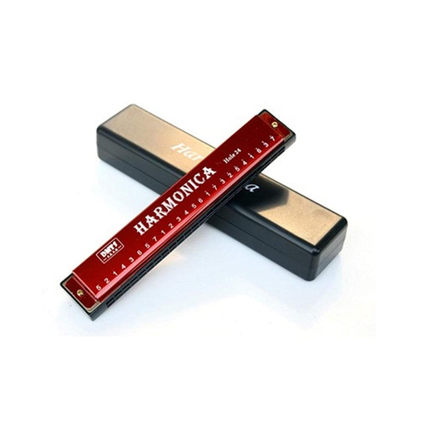 QINRUIKUANGSHAN Harmonica, Beginner Polyphonic C Professional Harmonica, Creative Music Gifts, Gold The best gift for music lovers (Color : Red-1832.2cm)
