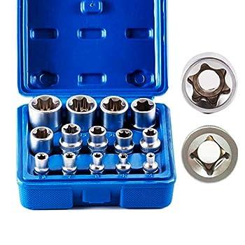 14PCS E Torx Star Female Bit Socket Set E4 -E24 Female External Torque Star Socket Sets with Rail 1/2  3/8  1/4  Dr.