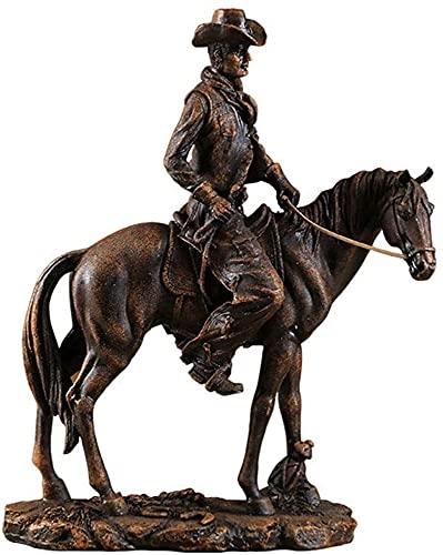 Equitación Modelo De Vaquero Escultura Ornamento Resina Oficina Retro Casa Barra Creativa Sala De Estar Estudio Dormitorio 29.6x12.3x37.3cm MUMUJIN