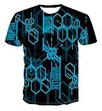 HOHHJFGG Camiseta para Hombre, Camiseta para Hombre, gráficos geométricos, impresión 3D, Manga Corta, Cuello Redondo, Camiseta Informal para Hombre, Camiseta Superior