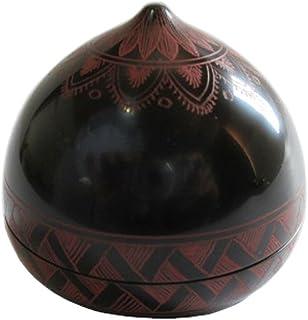 中谷兄弟商会 山中漆器 茶道具 香合 宝珠型 黒塗キンマ彫 W2-3