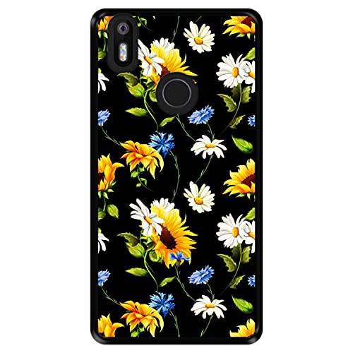 Hapdey silikon Hülle für [ Bq Aquaris X - X Pro ] Design [ Blumenmuster, Bunte Blumen 2 ] Schwarze Flexibles TPU