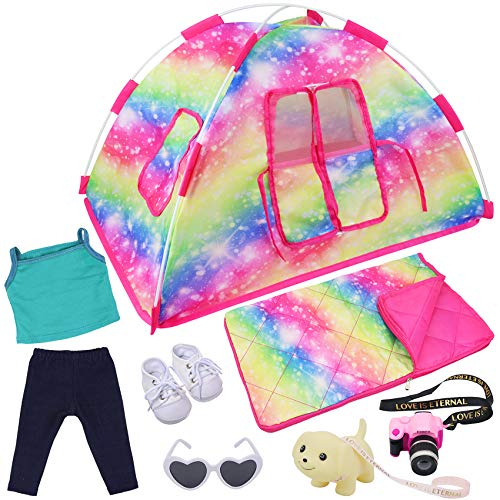 ZITA ELEMENT 7 Items Fashion Doll Camping Tent Set for American 18 Inch Girl Doll Accessories - Including 18 Inch Doll Camping Tent, Sleeping Bag, Clothes Set, Shoes, Camera, Eye Glasses and Toy Dog