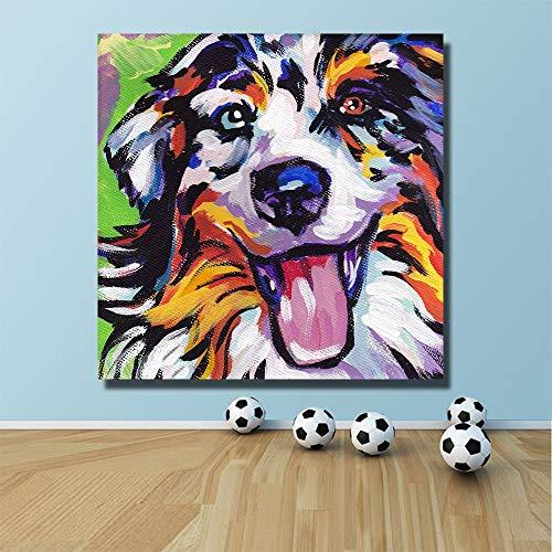 KWzEQ Ölgemälde Pop glücklich Hund Dekoration Malerei auf Leinwand nach Hause Moderne Wandkunst Leinwand Poster,Rahmenlose Malerei,60x60cm
