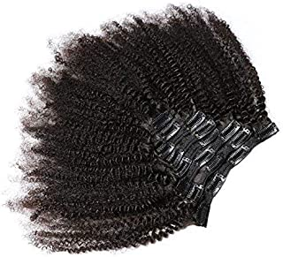 KeLang Hair African American Afro Kinky Curly Clip In Human Hair Extensions Brazilian Virgin Hair Natural Color 4B 4C Afro Kinky Curly Clip Ins 10inch 7pcs/lot,120gram/set