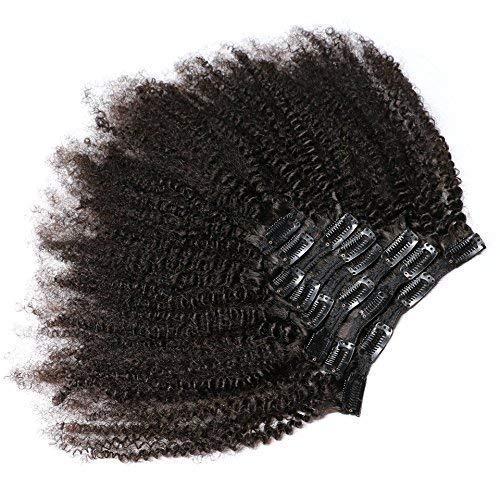KeLang Hair African American Afro Kinky Curly Clip In Human Hair Extensions Brazilian Virgin Hair Natural Color 4B 4C Afro Kinky Curly Clip Ins 12inch 7pcs/lot,120gram/set
