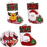 meioro Medias de Navidad Calcetines de Navidad Clásicas Rojas con Calcetín de Navidad para de Chimenea, Decoración de Fiestas Familiares Decoración de Papá Noel y Muñeco de Nieve (Rojo, 3 Piezas)