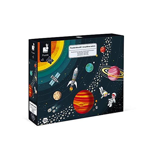 Janod - Puzle Educativo Infantil Sistema Solar, de 100Piezas - Desarrolla la Motricidad Fina...