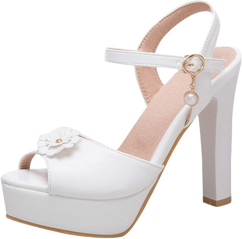 Ghssheh Women's Sweet Peep Toe High Heel Ankle Strap Sandals Pink 4.5 M US