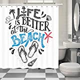 NYMB Life is Better at The Beach Fabric Shower Curtains for Bathroom, Nautical Coconut Tree Flip Flops Starfish Anchor and Funny Sea Quotes for Summer Shower Curtain Rings Included, (69' WX70 H)