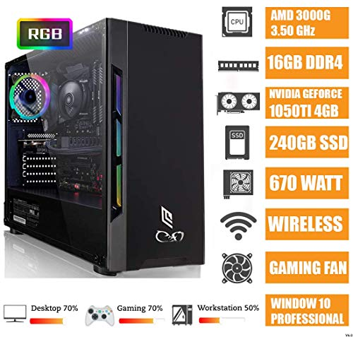 - CeO Zeta V2 - PC Gaming - AMD 200GE 3.20GHz 4MB Cache | 16GB Ram DDR4 | 240GB SSD | GTX 1050TI 4GB | HDMI/VGA Full HD | USB 3.0 | Wi-Fi | WIN10 PRO