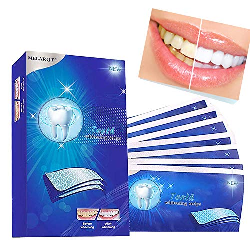 White Stripes, Bleaching Strips zur Zahnaufhellung, Bright White Teeth Whitening Strips für Weiße Zähne Zahnweiss, Zahnweiß Streifen mit Minzgeschmack für 7 Tage