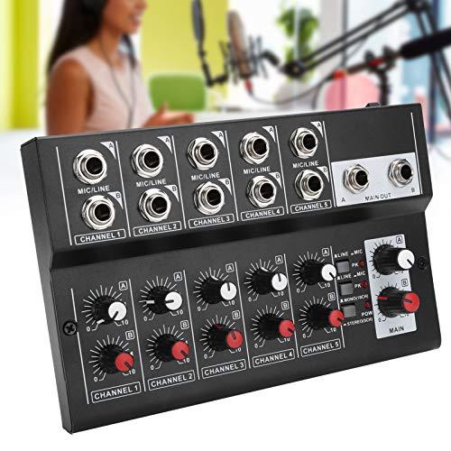 Shanrya Mezclador de Audio portátil Tamaño Compacto Diseño Profesional Mezclador de Audio estéreo Grabación de música Duradera Webcast de Negocios para Karaoke en casa(Transl)