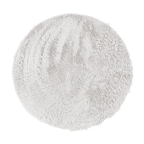 Alfombra Redonda de Pelo Largo, Extra Suave, 160 cm de diámetro, Color Blanco