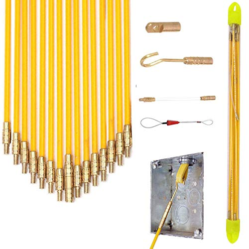 11' Fishing Rod Fiberglass Fish Tape Wire Running Coaxial Electrical Connectable Pull Kit with Hook, Hole Kit and Fastener Steel Rope in Transparent Tube, Yellow