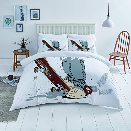 TNIIFICY Duvet Cover Set-Bedding,Skateboard with Boy Feet In The Sneakers and Jeans Illustration,Quilt Cover Bedlinen-Microfibre 140x200cm with 2 Pillowcase 50x80cm