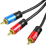SHD RCA to 2RCA Subwoofer Cable Audio Cable 2RCA to 1RCA Bi-Directional RCA Y Adapter Premium Sound Quality Dual Shielded with Gold Plated Connectors-20Feet